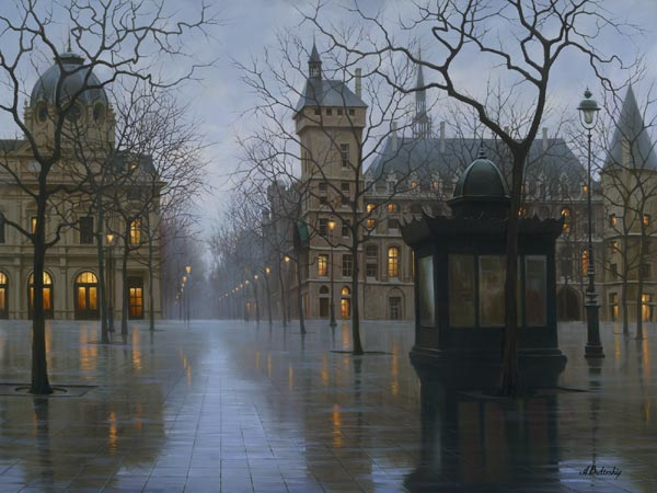 Cityscapes paintings by Russian artist Alexey Butyrsky.April in Paris, by Alexei Butirskiy